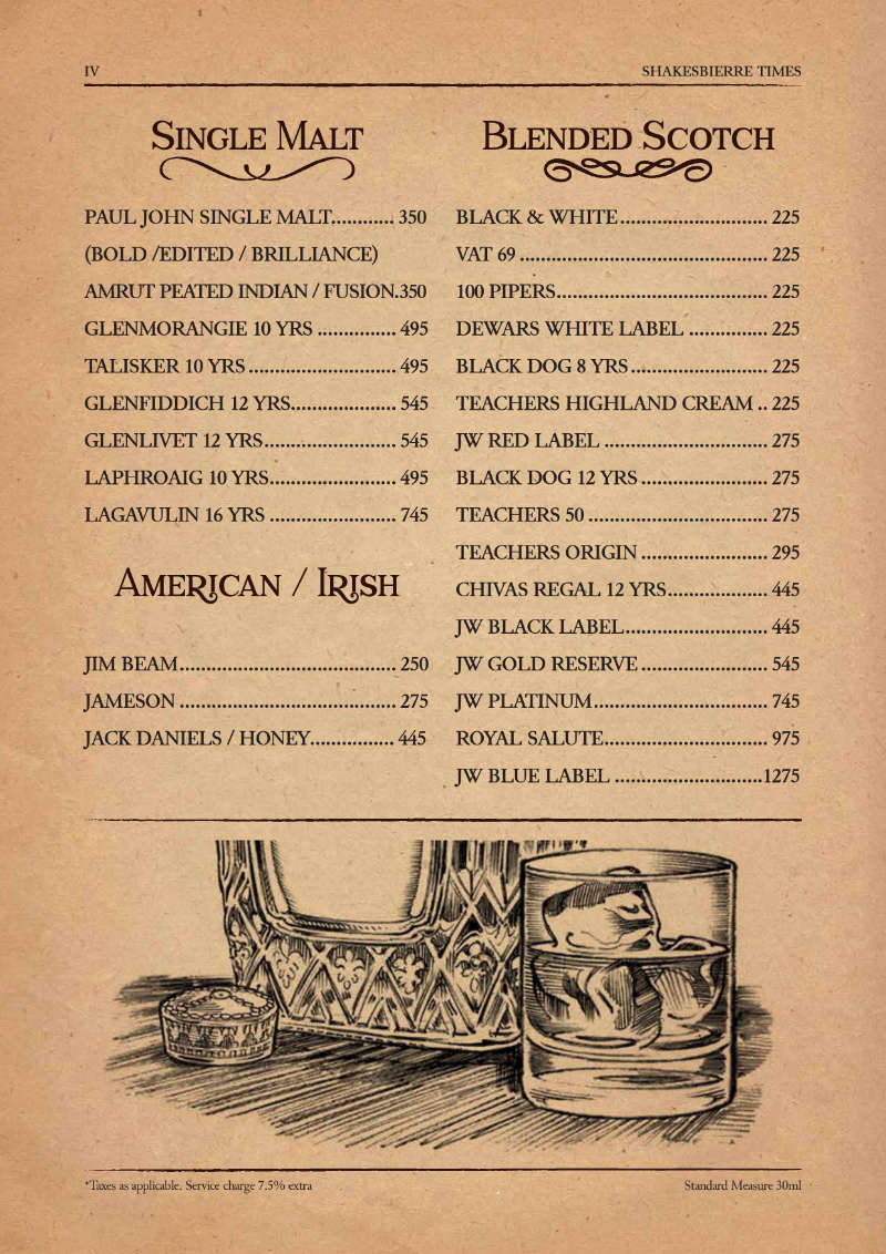 Single Malt & Scotch menu