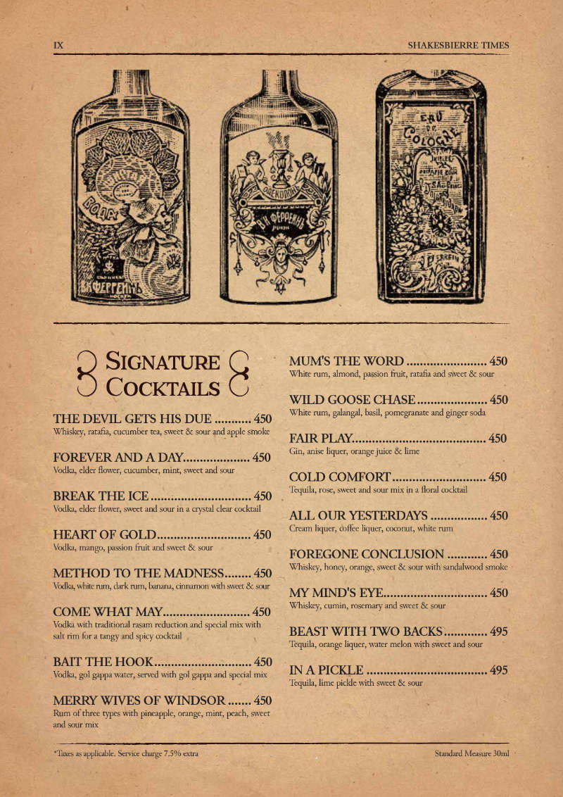 Signature Cocktails Menu